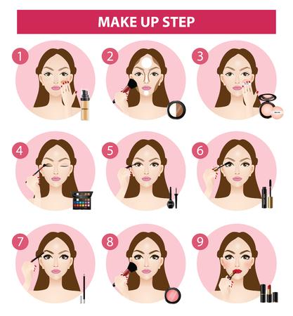 Illustration pour how to make up steps vector illustration - image libre de droit