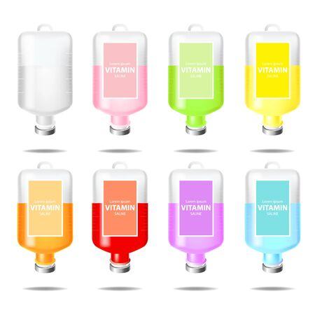 Illustration pour Bottle of vitamin saline solution vector illustration - image libre de droit