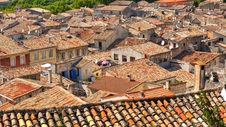 Disorganized rooftops of the Medieval Village of Sommiers France from the tower of the old fortress