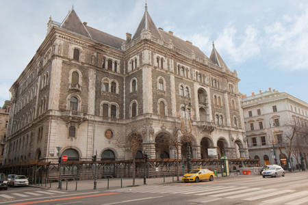 Old building and urban scene on the Andrassy Utca street in Budapest, the capital of Hungary
