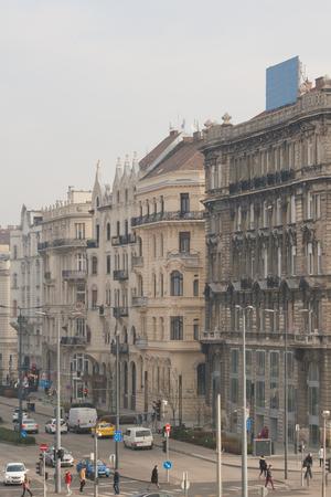Urban scene in Budapest on the Szabad Sajt? tca street