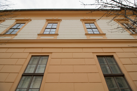 Photo pour Renovated facade of a historic old building in Szeged, in the south of Hungary, Europe - image libre de droit