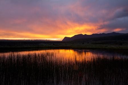 Sunset over Skaftafell nationalpark