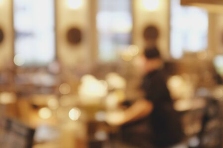 Photo pour Background blurred couter coffee bar cafe, cafe blurred background with bokeh - image libre de droit