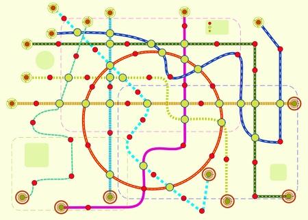 Illustration pour public transport or tube map, vector format - image libre de droit