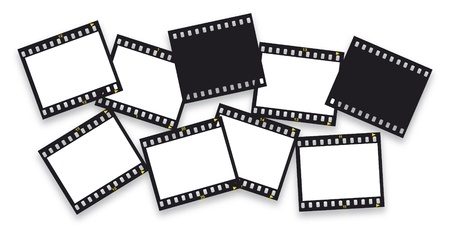 pieces of filmstrips isolated on white