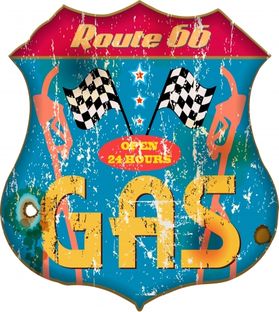 vintage gas station sign,vec