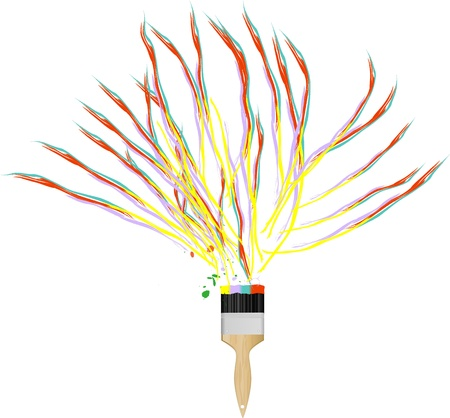 paint brush with multicolored paint strokes, color concept