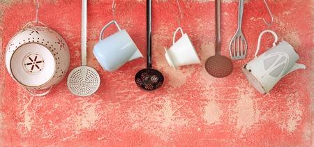 Photo pour vintage kitchen utensils, cooking concept, free copy space  - image libre de droit