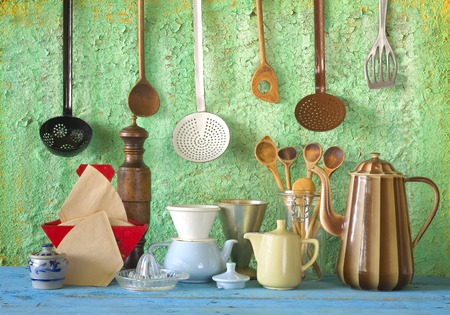 various kitchen vintage utensils, cooking, kitchen concept