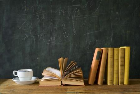 Photo pour books with a cup of coffee, free copy space - image libre de droit