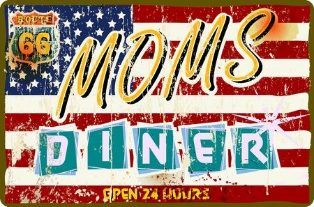 Vektor für vintage route 66 diner sign, retro style, vector illustration - Lizenzfreies Bild