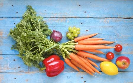 Foto de healthy food, vegetables and fruits,flat lay - Imagen libre de derechos