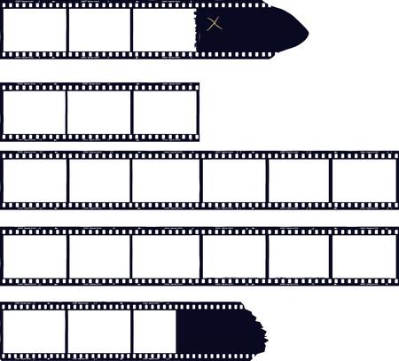 Illustration pour set of film stripes, photo frames, free copy space,vector - image libre de droit