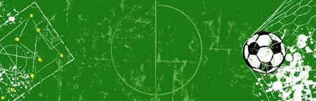 Ilustración de Grungy Soccer illustration or web banner. Vector format. Free copy space - Imagen libre de derechos