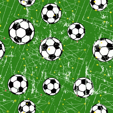 Illustration pour Soccer ball seamless pattern, football background, grungy style vector illustration. - image libre de droit