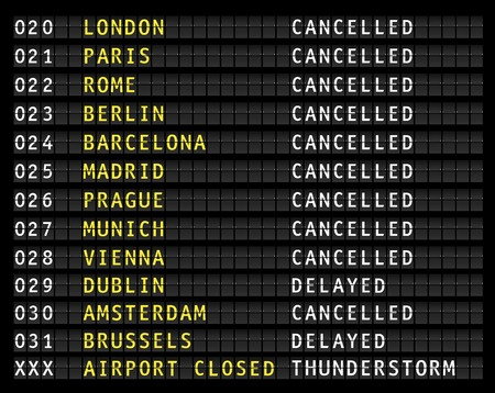 Illustration pour Flight information on an airport showing canceled flights because of a thunderstorm, vector - image libre de droit