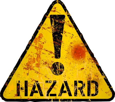 Illustration pour grungy hazard, risk, danger warning sign sign, vector illustration - image libre de droit