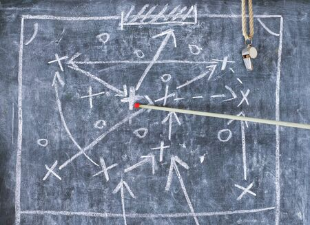Photo pour soccer or football tactics scribble with the trainers whistle and pointer stick on blackboard - image libre de droit