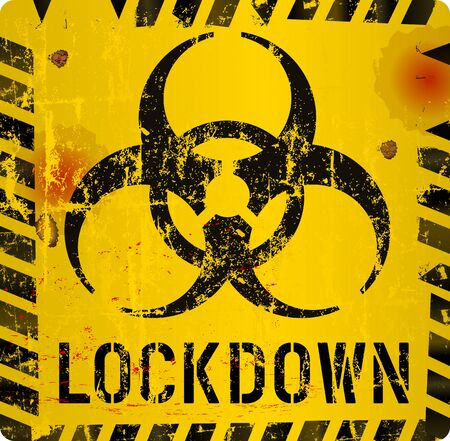 Illustration pour Lockdown sign, Corona virus,Covid-19, biohazard epidemic warning sign, grungy style, vector - image libre de droit
