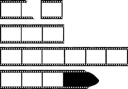 Illustration pour set of grungy photo film frames,filmstrips with free copy space,vector,fictional artwork - image libre de droit