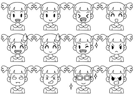 Illustration pour Hand Drawn Doodle Collection cute Funny Avatars cartoon emoticon Icon,set of cute vector faces, different emotions isolated on white background Vector illustration - image libre de droit