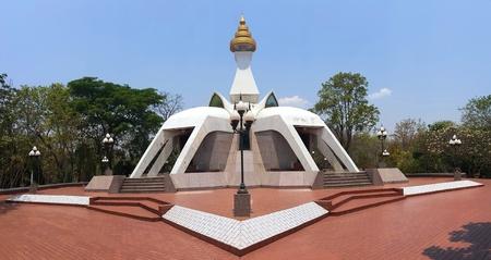 White pagoda at wat Tham Klong Pel temple in Nong Bua Lam Phu Province, Thailand