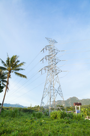 Telecommunications tower in a day of clear blue sky Thailand