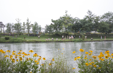 Landscape scenery view of a lakeside in a village