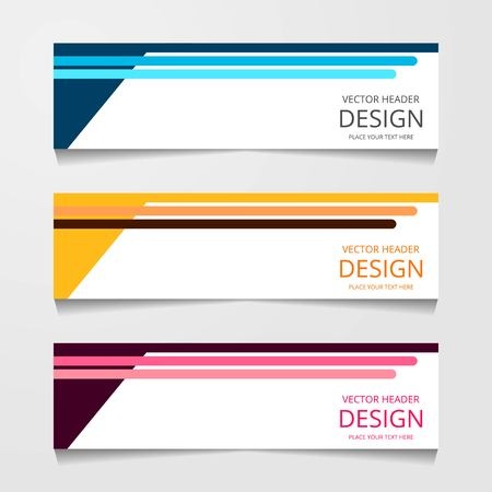 Ilustración de Abstract design banner, web template with three different color, layout header templates, modern vector illustration - Imagen libre de derechos