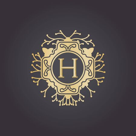 Illustration for Initial Letter h, Luxury Logo for boutique, cosmetic, or jewelery logo design. Vector Illustration - Royalty Free Image