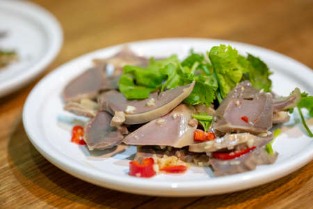 Taiwanese food traditional snack smoked goose gizzard