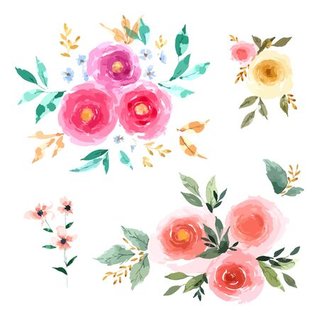 Illustration pour Rose Flower set with hand drawn watercolour for design isolated on white background - image libre de droit
