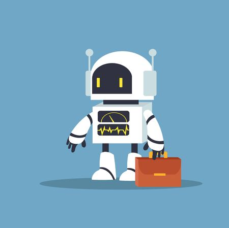 Illustration for white robot for jobs character vector - Royalty Free Image