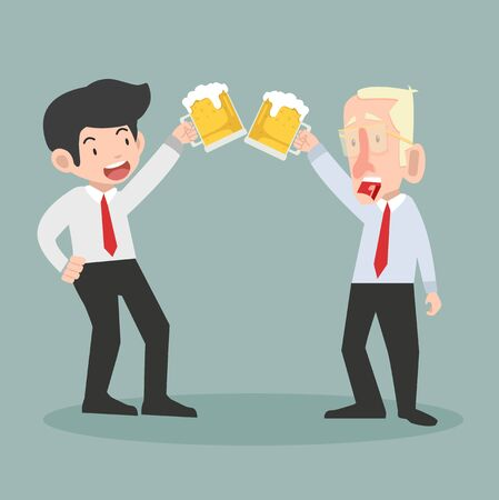 Illustration for businessmen with alcohol drinks vector - Royalty Free Image