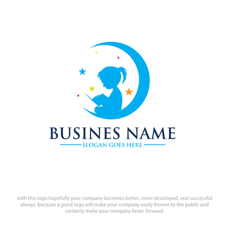 Illustration for children read book dreams logo designs - Royalty Free Image