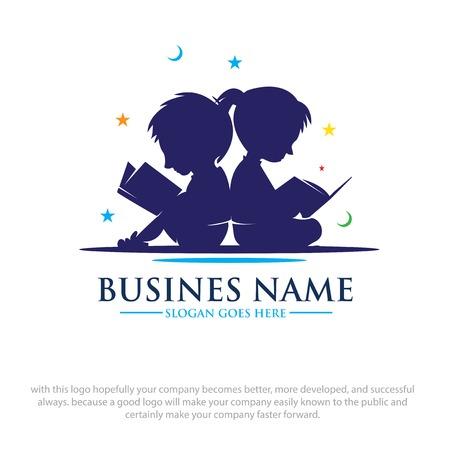 Ilustración de children read book dreams logo designs - Imagen libre de derechos
