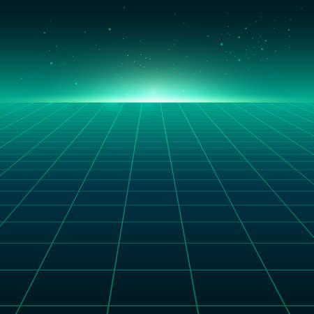 Ilustración de Abstract perspective green grid. Retro futuristic neon line on dark background, 80s design perspective distorted plane landscape composed of crossed neon lights and laser beams. Vector illustration - Imagen libre de derechos
