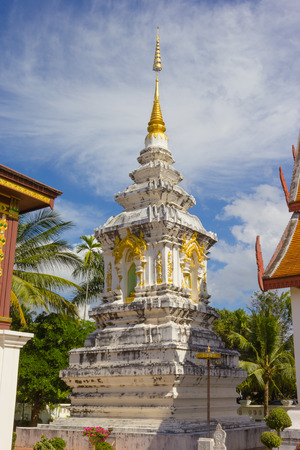 pagoda white in Wat Hua Kuang temple in Nan Province Thailand