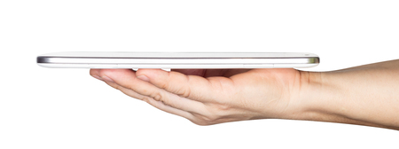 Photo pour businessman hand holding white tablet computer isolated on white background - image libre de droit