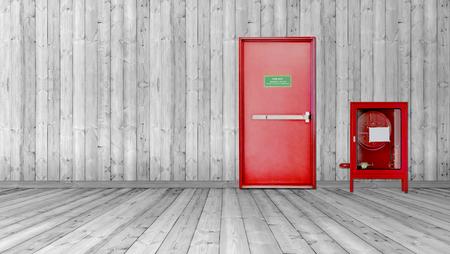 Photo pour Fire exit door and fire extinguish equipment - image libre de droit