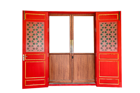 Photo pour red wooden door of chinese style isolated on white background,clipping path - image libre de droit