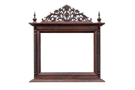 Photo pour antique picture frame  wood carving style Thai pattern art  on white background, - image libre de droit