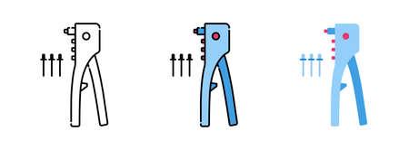 Illustration pour rivet gun icon set isolated on white background for web design - image libre de droit