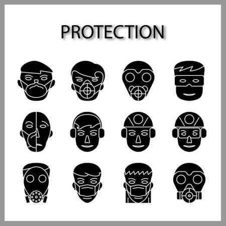 Illustration pour protective mask icon set isolated on white background for web design - image libre de droit