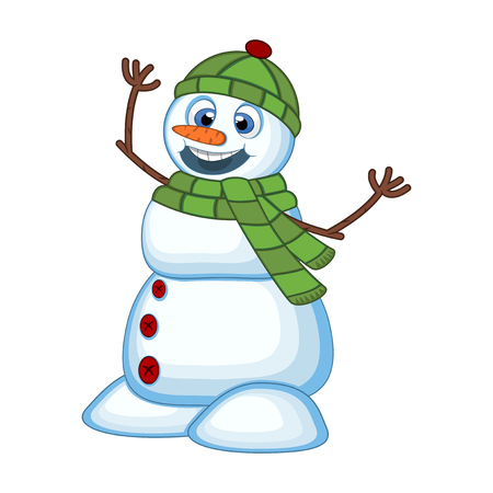 Snowman wearing a green head cover and a scarf for your design vector illustration