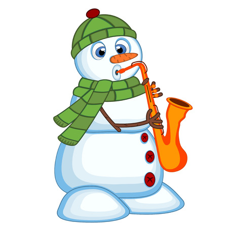 Snowman wearing a green head cover and a scarf playing saxophone