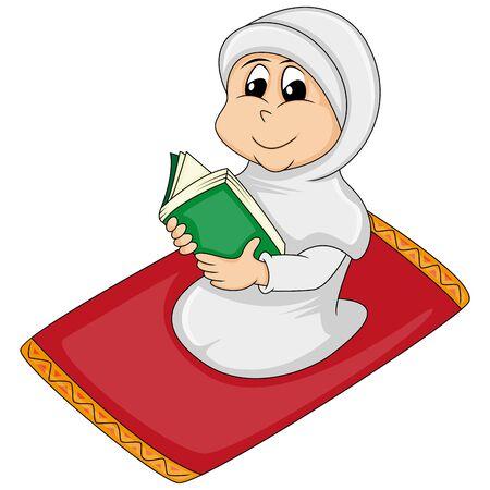 Illustration pour Muslim girl reading Al Quran -praying cartoon vector illustration - image libre de droit