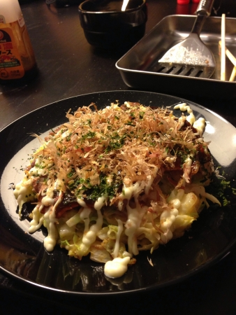 Freshly prepared Japanese Okonomiyaki