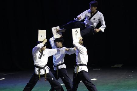 International taekwondo demonstration team members perform at Kukkiwon, the World Taekwondo Headquarters, in Seoul, South Korea.